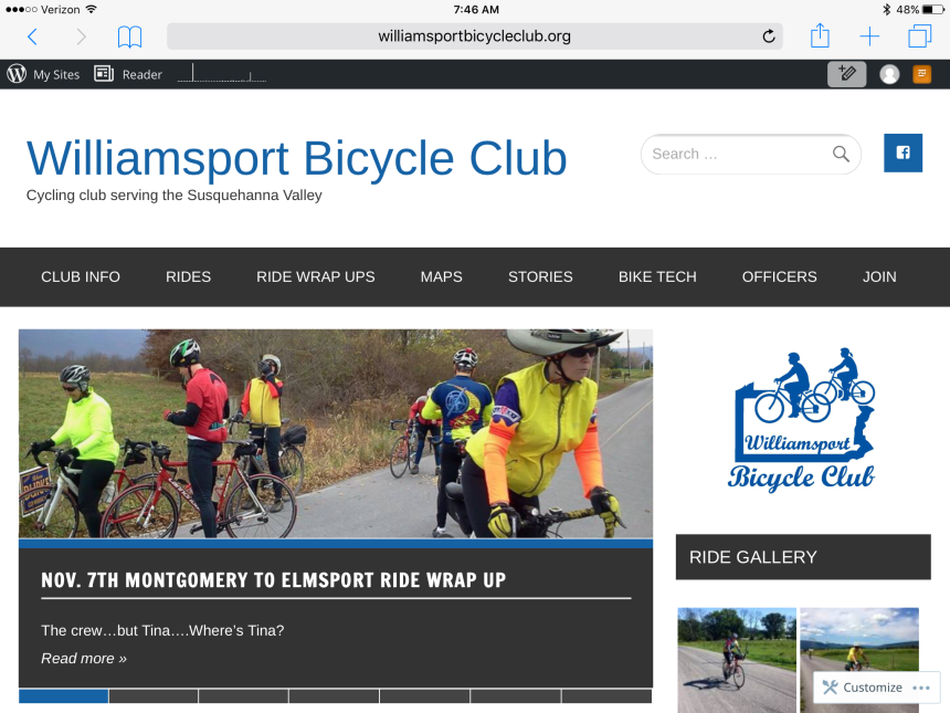 Visit WBC online at williamsportbicycleclub.org